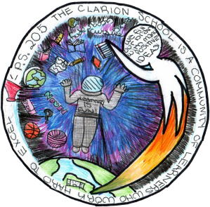 Alternate School Logo with Astronaut and a figure filled with bright ideas