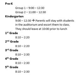 1st day schedule