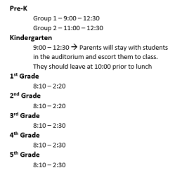 1st day schedule
