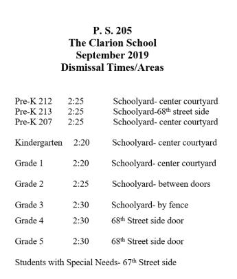 dismissal schedule 2019