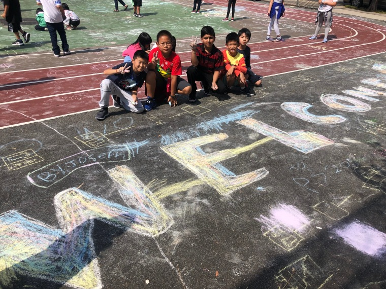 chalk drawing with students