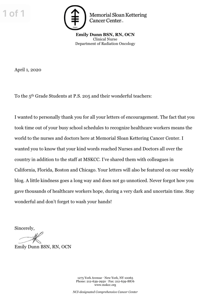 Letter from Memorial Sloan Kettering to thank our students