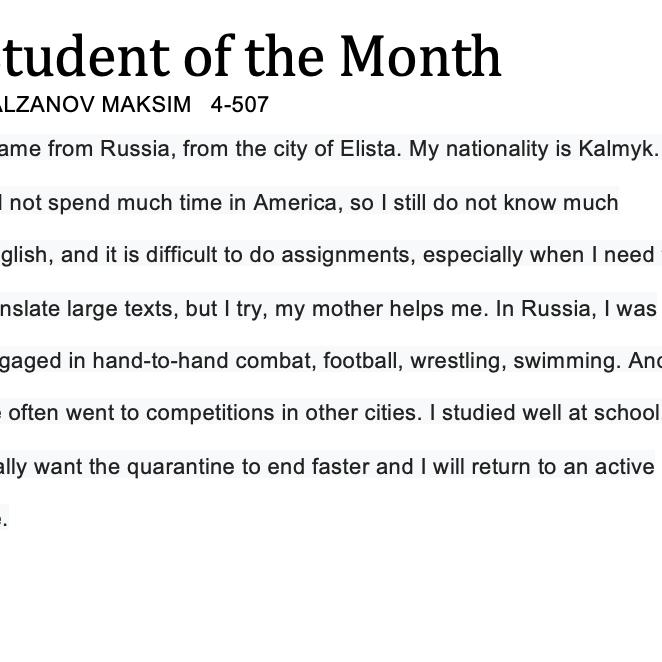 portrait and student of the month description